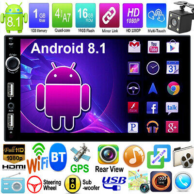 Android 8.1 7in 2Din Quad Core WiFi GPS Navi Car Stereo MP5 Player FM Radio +Cam