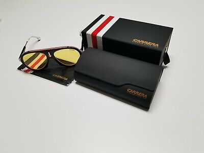 01ea37474c NIB Carrera Flag Special Edition GUUHO White Black Sunglasses Yellow Lenses  57mm