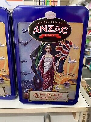 2019 ANZAC Memorial Tin 500g ANZAC biscuits - Includes Two Postcards & Biscuits!