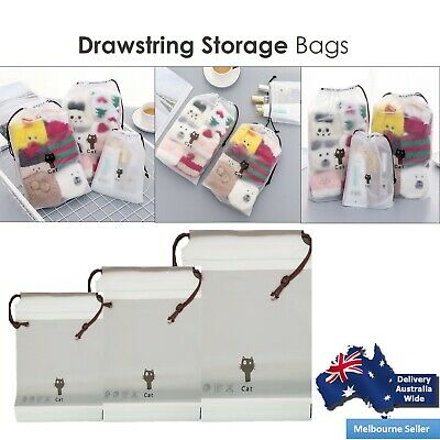 Cat Clear Storage Bag Waterproof Travel Drawstring Bag Clothes Makeup Pouch DISP