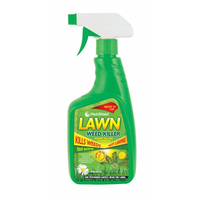 2 x Pest Shield Fast acting Lawn weed Killer 1L spray DOES NOT KILL GRASS