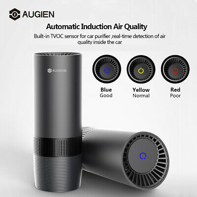 AUGIENB USB Car Air Purifier Air Freshener Ionizer TVOC Smoke Odor Cleaner