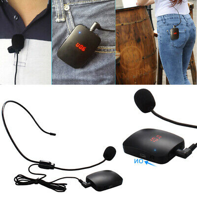 FM Wireless Microphone Transmitter with Headset Mic&Lapel for Teacher Tour Guide