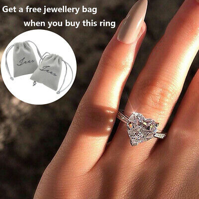 Womens Silver Heart Ring Wedding Engagement Crystal Ring Jewelry Gift Size 6-10