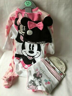 BNWT Primark Baby Girl Disney MINNIE MOUSE Pink 4 Piece Sleep Suit Set & 3 Bibs