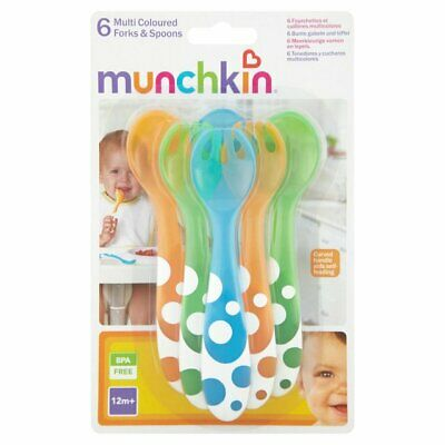 Baby Cutlery Munchkin 6 Multi Coloured Infant Forks & Spoons Toddler Pack