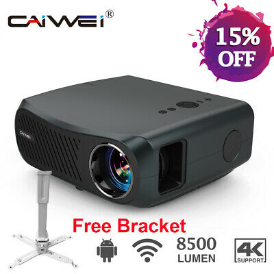 LED HD Smart Android WiFi Home Cinema Projector HDMI USB 1080P Rear Projection