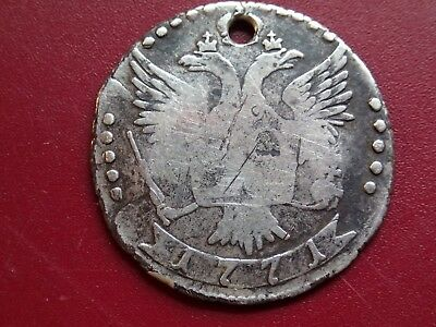 20 kopeck 1771 !! ORIGINAL ANTIQUE VERY OLD SILVER  COIN IMPERIAL RUSSIA RUSSIAN