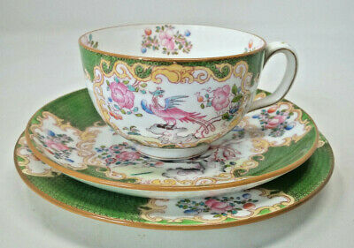Minton Green COCKATRICE Pattern 4863 Trio Teacup Saucer Side Cake Plate