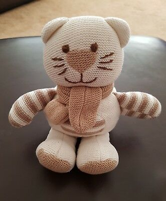 Card Factory Tiny Treasures Beige & Cream Knitted Cat Kitten Comforter Soft Toy
