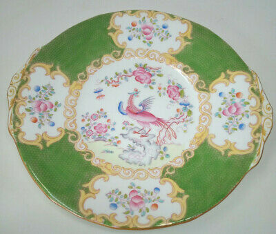 Minton Green COCKATRICE Pattern 4863 Eared Cake Serving Plate 23cm