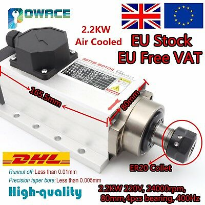 『UK&EU』 2.2KW Square Air Cooled Spindle Motor ER20 24000rpm 6A 4000HZ CNC Router