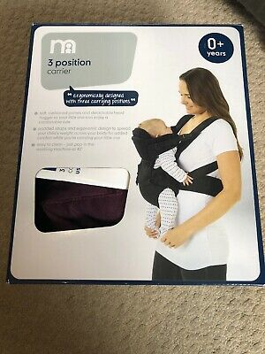 Mothercare Three Position Baby Carrier - Purple & Black Brand New And Boxed 0+