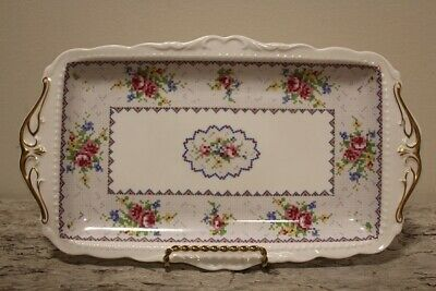 "Large ROYAL ALBERT ""PETIT POINT"" Bone China Tray - 11.5 x 6.5"" Made in England"