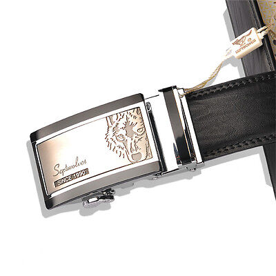Men Belt Genuine Cow Leather Auto Lock Buckle black red septwolves 20103-2