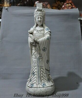 """26"""" Chinese Blue and White Porcelain Queen Mother Goddess of Heaven MaZu Statue"""