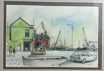 "Tim Widdowson (20th Century) British Watercolour Painting ""Poole Quay"" FRAMED"