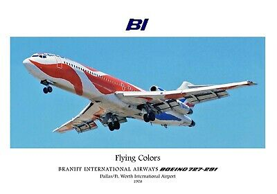 "Braniff Airways Boeing 727-200 ""Flying Colors"" ((16""x20"")) Print"