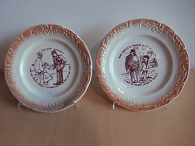 Pair Plate Faience French Digoin Sarreguemines Givors 19 Century Policeman