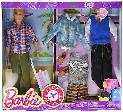 Blonde Ken Toy Doll With Travel Wardrobe Clothes Set
