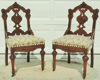 Pair Antique Victorian Eastlake Carved Burl Wood Dining Side Accent Chairs #5638