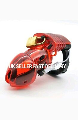 Amazing Price Electro Red Male Chastity Device Cuff Ring Including Tens SM Host.