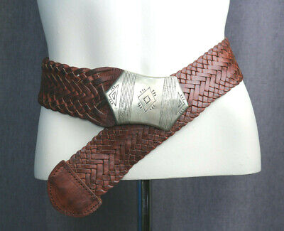 Wide Woven Leather Belt Brown w/ Silver tone buckle Four Winds Morocco BOHO Med