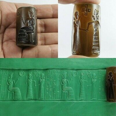 Ancient Sassanian Carnelian Agate Seal Cylinder all Round Queen Intaglio #A76