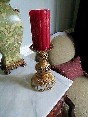 Vintage Heavy Ornate Cast Brass Pillar or Taper Candle Holder ~Japan