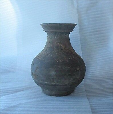 Antique Chinese China Han Dynasty Hu Vase Tomb Jar Double Rim Burial 206 BCE