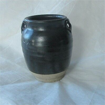 Antique Chinese China Northern Song Dynasty Black Glazed Vase  Jar Lugs 960-1280