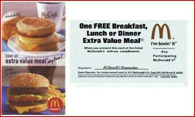 5x - McDonald's Free Extra Value Meal Combo - Great Savings Gift Certifcate