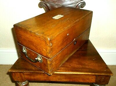 Antique 19Th C Large Oak Document Box With 2 Gilded Metal Folding Side Handles
