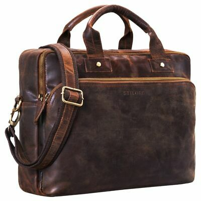 """STILORD """"Hector"""" Large Leather Business Bag Men Vintage for 15.6 Inches Laptop"""