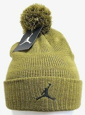 828ec3d37bc84 Nike Air Jordan Knit Pom Pom Cuffed Winter Beanie Olive Hat One Size 686932  356
