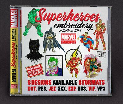 Super Heroes Embroidery Machine Designs Files DST PES Marvel collection 2019