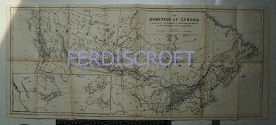 1882 Map of the Dominion of Canada - Parts USA - Railways and Canals
