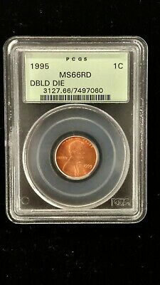 1995 DOUBLE DIE OBVERSE LINCOLN CENT PCGS MS-66 Red