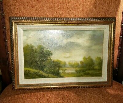 Kendg Antique vintage small oil painting on wood framed 1945 signed Kerdg 11 x 8