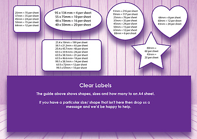 Custom Made Clear Labels, A4 transparent stickers sheets, custom cut shapes.