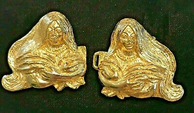 Vintage Signed Mimi Di N 1975 Gold Plated Native Woman Harvester Belt Buckle