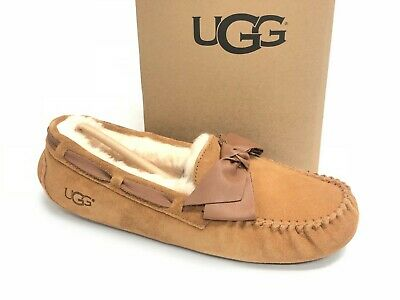 1bfb630e332 UGG AUSTRALIA WOMEN'S Dakota Leather Bow 1020031 Chestnut Slippers Suede