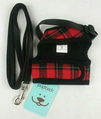 PupTeck Escape Proof Cat Harness Size Small Black & Red Gingham