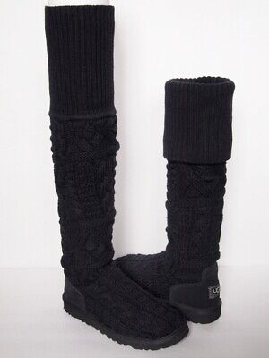5beb5964631 UGG AUSTRALIA OVER the Knee TWISTED CABLE KNIT Boots WOMEN 8 Gray ...