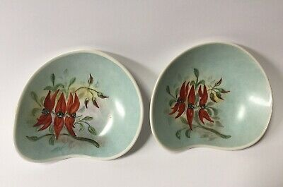 Vintage Australian Porcelain Pair of Hand Painted Signed Mid Century Dishes
