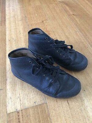Black Nappa Leather Spring Court Sneakers, Size 40