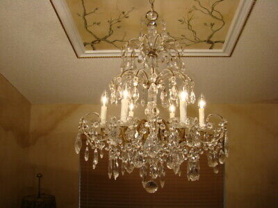 Great Old French Italian Macaroni Beaded Glass Crystal  Empire Chandelier