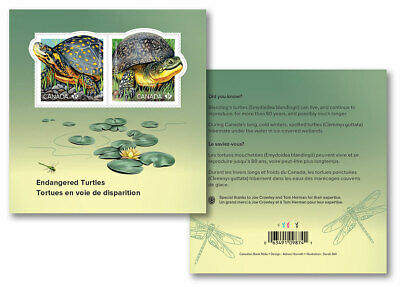 2019 Canada Endangered Turtles Souvenir Sheet 2 Stamps Reptile 2 Sides