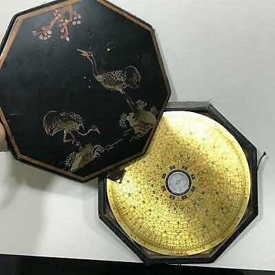 Vintage Chinese Compass Painted Leather Case