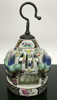 Vtg Chinese Floral Porcelain Finches Birdcage Hanging Art Statue